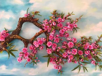 3D Handmade Cherry Blossom Clay Flower Picture Frame