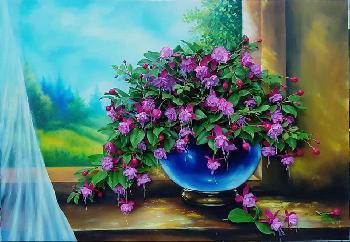 3D Handmade Fuchsia Clay Flower Picture Frame