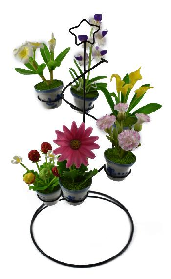 Wire Stand with Flower (Set A)