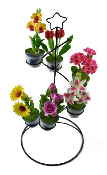 Wire Stand with Flower (Set B)